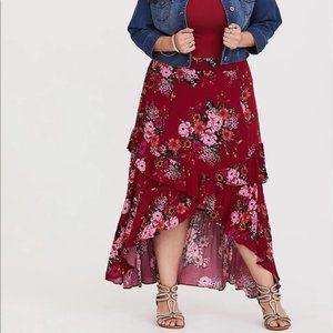 Torrid Red Floral Hi-Lo Gauze Skirt Plus Size 3